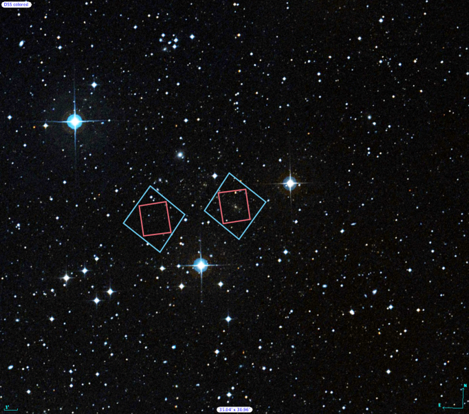 Locations of Hubble's observations of the Abell S1063 galaxy cluster (right) and the nearby parallel field (left), plotted over a Digital Sky Survey (DSS) image. The blue boxes outline the regions of Hubble's visible light observations, and the red boxes indicate areas of Hubble's infrared light observations. The 1' bar, read as one arcminute, corresponds to approximately 1/30 the apparent width of the full moon as seen from Earth. Credit: Digitized Sky Survey (STScI/NASA) and Z. Levay (STScI).