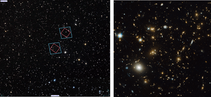 (Left) Locations of Hubble's observations of the MACS J0717 galaxy cluster, bottom, and the nearby parallel field, top, plotted over a Digital Sky Survey (DSS) image. The blue boxes outline the regions of Hubble's visible light observations, and the red boxes indicate areas of Hubble's infrared light observations. The 1' bar, read as one arcminute, corresponds to approximately 1/30 the apparent width of the full moon as seen from Earth. (Right) Archival Hubble image of the MACS J0717 galaxy cluster taken in visible light. Left Credit: Digitized Sky Survey (STScI/NASA) and Z. Levay (STScI). Right Credit: NASA, ESA, and H. Ebeling (University of Hawaii).