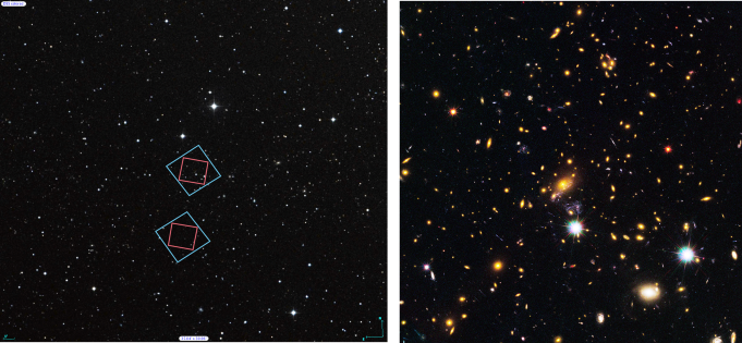 (Left) Locations of Hubble's observations of the MACS  J1149 galaxy cluster, top, and the nearby parallel field, bottom, plotted over a Digital Sky Survey (DSS) image. The blue boxes outline the regions of Hubble's visible light observations, and the red boxes indicate areas of Hubble's infrared light observations. The 1' bar, read as one arcminute, corresponds to approximately 1/30 the apparent width of the full moon as seen from Earth. (Right) Archival Hubble image of the MACS J1149 galaxy cluster taken in visible light. Left Credit: Digitized Sky Survey (STScI/NASA) and Z. Levay (STScI). Right Credit: NASA, ESA, and M. Postman (STScI), and the CLASH team.