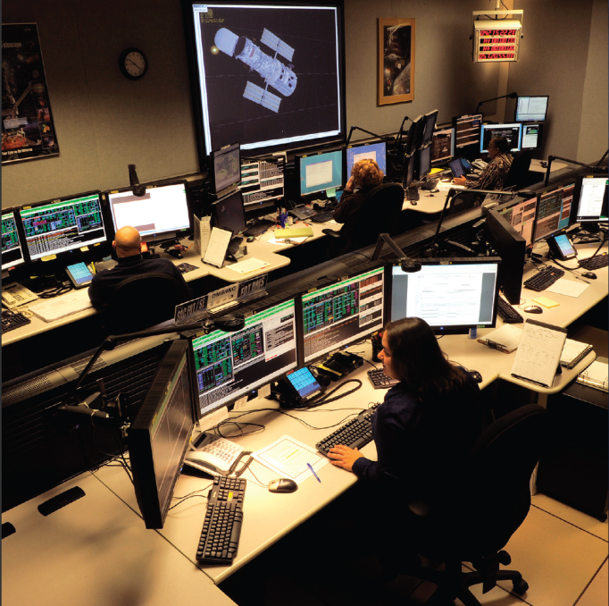 Hubble's Flight Operations Team resides in the Space Telescope Operations Control Center at NASA's Goddard Space Flight Center in Greenbelt, Md.  In addition to monitoring the health and safety of the telescope, they also send command loads to the spacecraft, monitor their execution, and arrange for transmission of science and engineering data to the ground.