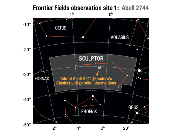 Location of the Abell 2744 galaxy cluster field and its parallel field in the Sculptor constellation.SOURCES: Frontier Field location: STScI; Enlarged constellation map: International Astronomical Union (IAU)