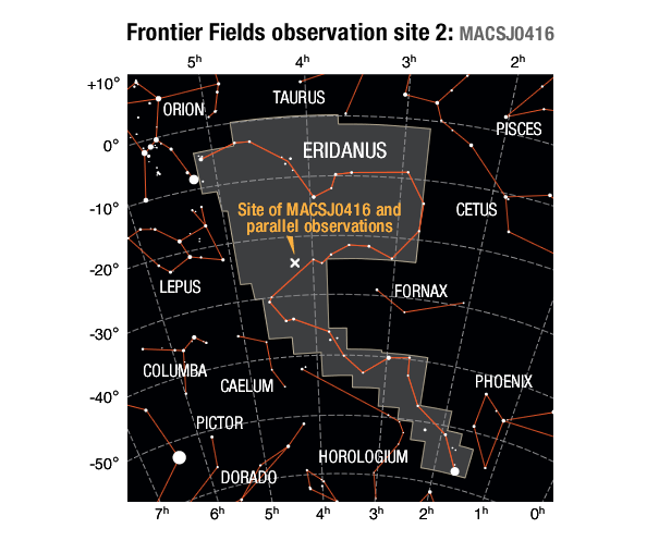 Location of the MACS J0416 galaxy cluster field and its parallel field in the Eridanus constellation.SOURCES: Frontier Field location: STScI; Enlarged constellation map: International Astronomical Union (IAU)
