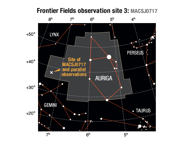 Location of the MACS J0717 galaxy cluster field and its parallel field in the Eridanus constellation.SOURCES: Frontier Field location: STScI; Enlarged constellation map: International Astronomical Union (IAU)