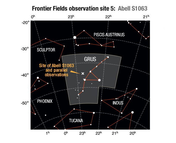 Location of the Abell S1063 galaxy cluster field and its parallel field in the Eridanus constellation.SOURCES: Frontier Field location: STScI; Enlarged constellation map: International Astronomical Union (IAU)