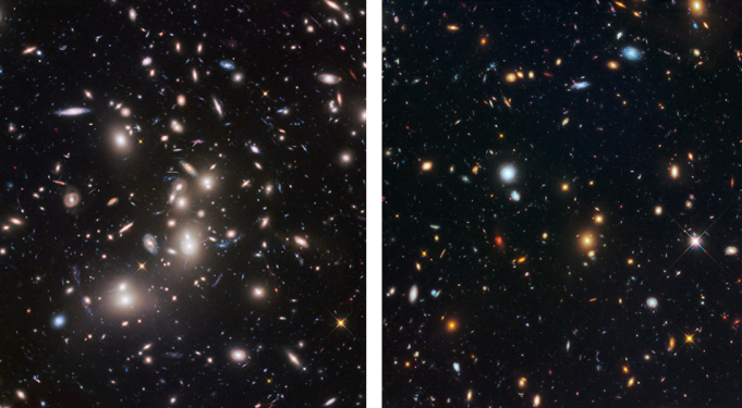 Shown on the left is the galaxy cluster Abell 2744. Shown on the right is the adjacent parallel field.