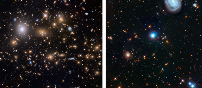 Shown on the left is the galaxy cluster MACS J0717. Shown on the right is the adjacent parallel field. These were the third pair of completed targets of the Hubble Frontier Fields program. This marked the halfway point of the Hubble Frontier Fields observing campaign and were completed in the Spring of 2015, around the 25th anniversary of the Hubble Space Telescope.