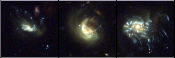 "Three examples of jellyfish galaxies in the Frontier Fields. In each image, the telltale, trailing ""tentacles"" of stars and gas are present. The left and right galaxies are from galaxy cluster Abell 2744. The middle galaxy resides in galaxy cluster Abell S1063."