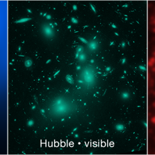 Processed images of galaxy cluster Abell 2744, with color added (X-ray light - blue, visible light - green, infrared light - red). Credit: Chandra – NASA/CXC/SAO; Hubble – NASA, ESA, and J. Lotz, M. Mountain, A. Koekemoer, and the HFF Team (STScI); Spitzer – NASA/JPL-Caltech/P. Capak