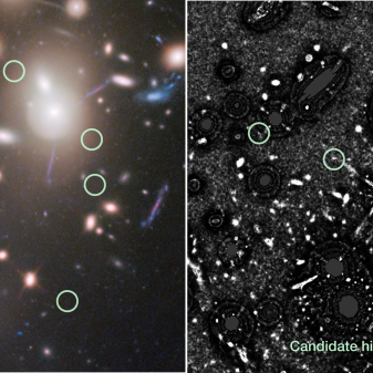 Using mathematical models, astronomers can remove the foreground light from galaxies within a galaxy cluster. By removing the large-scale foreground light, astronomers are able to identify small-scale structures of background, faint, lensed galaxies. Shown here is galaxy cluster Abell 2744 before foreground light subtraction (left) and after foreground light subtraction (right). Multiple distant, faint galaxies become visible using this technique. Those in the circles are background galaxies that are possibly very distant, i.e., those with possibly very high redshifts. Credit: Livermore, Finkelstein, & Lotz 2016