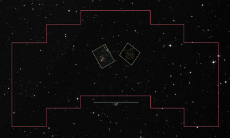 Shown here are Hubble's observations of Abell 2744 and parallel field (inset boxes), located inside the footprint of the WFIRST Wide Field Instrument. Credit: FF - NASA, ESA, and J. Lotz, M. Mountain, A. Koekemoer, and the HFF Team (STScI); DSS – STScI/NASA; Z. Levay (STScI)