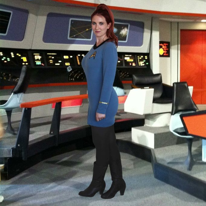 Wearing a Star Trek uniform she sewed herself, Rachael steps onto the bridge of the starship Enterprise.