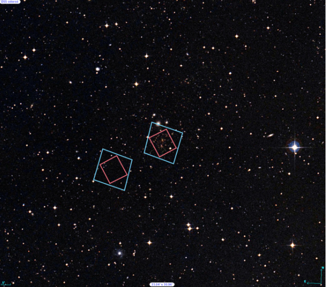 The locations of Hubble's observations of the Abell 370 galaxy cluster (right) and the adjacent parallel field (left)