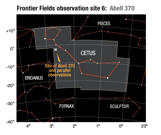 Location of the Abell 370 galaxy cluster field and its parallel field in the constellation Cetus.